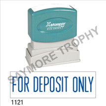 "XStamper Pre-Inked Stock Stamp ""FOR DEPOSIT ONLY"" (BLUE) - Impression Size: 1/2"" x 1-5/8"""