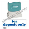 """XStamper Pre-Inked Stock Stamp """"FOR DEPOSIT ONLY-ROUNDED"""" (BLUE) - Impression Size: 1/2"""" x 1-5/8"""""""
