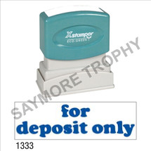 "XStamper Pre-Inked Stock Stamp ""FOR DEPOSIT ONLY-ROUNDED"" (BLUE) - Impression Size: 1/2"" x 1-5/8"""