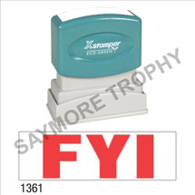 "XStamper Pre-Inked Stock Stamp ""FYI"" (RED) - Impression Size: 1/2"" x 1-5/8"""