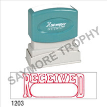 "XStamper Pre-Inked Stock Stamp ""RECEIVED BOX"" (RED) - Impression Size: 1/2"" x 1-5/8"""