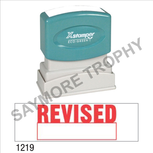 "Pre-Inked Stock Stamp ""REVISED W/ BOX"" (RED) - Impression Size: 1/2"" x 1-5/8"""