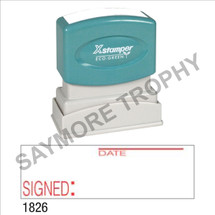 """XStamper Pre-Inked Stock Stamp """"SIGNED - DATE"""" (RED) - Impression Size: 1/2"""" x 1-5/8"""""""