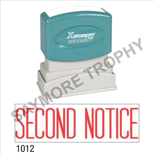 "XStamper Pre-Inked Stock Stamp ""SECOND NOTICE"" (RED) - Impression Size: 1/2"" x 1-5/8"""