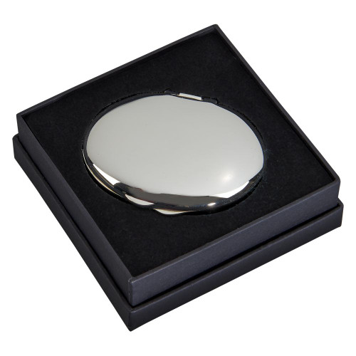 Engraved Silver-Plated Oval Compact with Gift Box