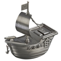 pirate ship bank engraved