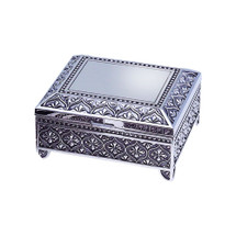 Personalized Antique Finish Square Jewelry Box