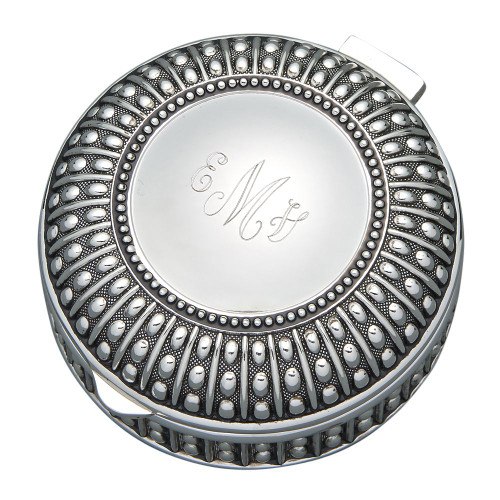 Engraved Beaded Round Antique Finish Round Jewelry Box