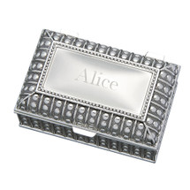 Personalized Rectangle Antique Beaded Jewelry Box