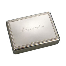 Personalized Rectangular Jewelry Box with Beaded Cover