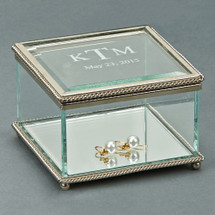 Personalized Engraved Glass Jewelry Box 3.25 Inch