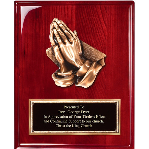 Piano Finish Rosewood Plaque with Praying Hands