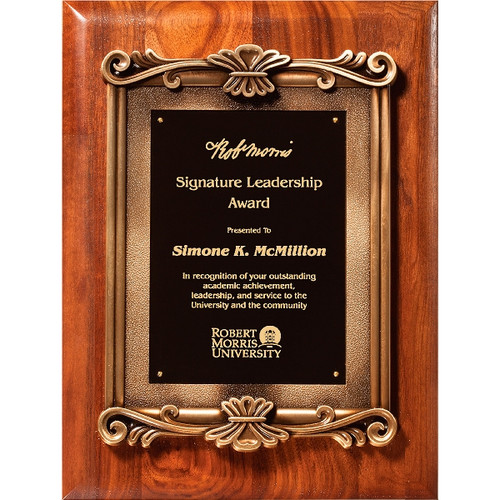 Solid walnut plaque with die cast scroll