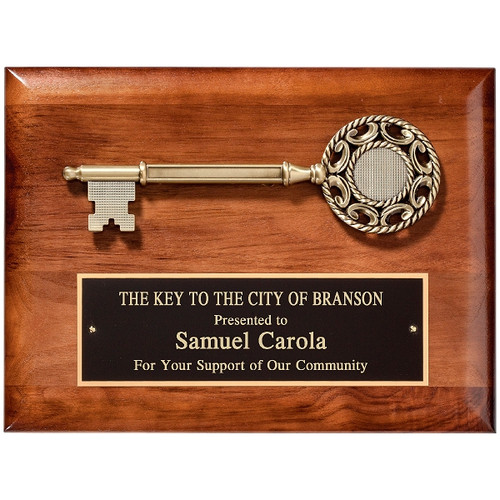 Solid American walnut plaque with die cast key