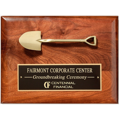 Solid American walnut plaque with die cast shovel