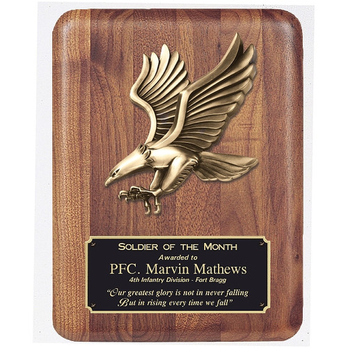 walnut plaque with eagle