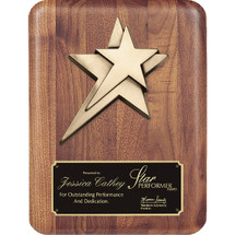 walnut plaque with raised stars