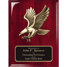 rosewood piano finish plaque with eagle