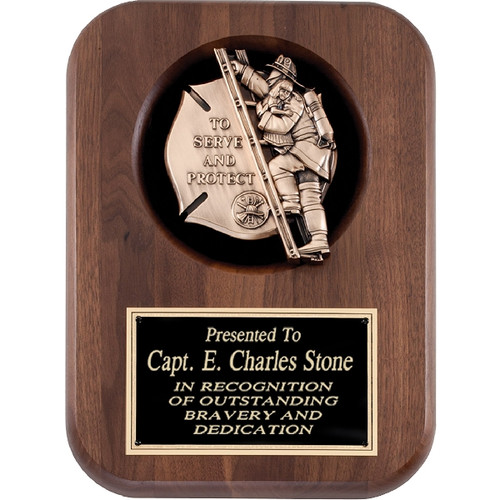 Walnut Plaque with firefighter insert