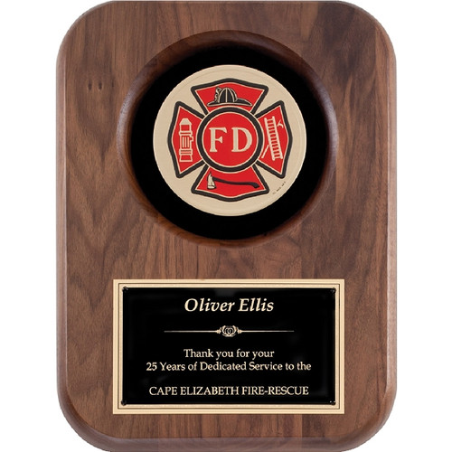 Walnut Plaque with Firefighter Maltese Cross