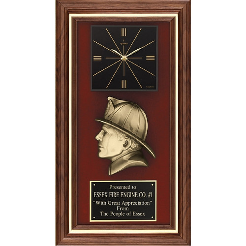 Walnut Plaque with Firefighter and Clock