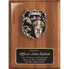 Walnut Piano Finish Plaque with Police Officer Shield