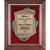 American Walnut Plaque with Metal Scroll and Red Fabric