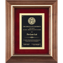 American walnut plaque with layered metal plate and Red Fabric