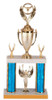This is a large trophy that includes a figure, a cup, two trim pieces, a lower figure, round column, two pieces of marble and a custom engraved plate