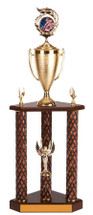 This is a large team trophy that includes a figure on a cup attached to a 3 post wooden trophy with lower figure and an engraved plate
