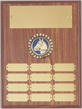 "A 9"" x 12"" walnut finish plaque with 12 plates and center logo holder"