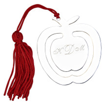 personalized engraved apple bookmark and tassel