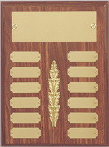 "A 9"" x 12"" Perpetual Plaque with 12 plates and a decoration in the middle"