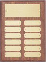"A 9"" x 12"" walnut finish perpetual plaque with 12 plates"