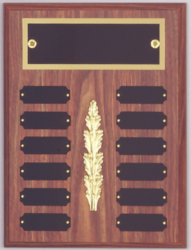 "A 9"" x 12"" walnut finish perpetual plaque with 12 plates, a decoration and a brass back plate"