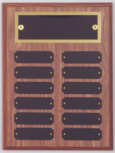 "A 9"" x 12"" walnut finish perpetual plaque with 12 plates and a brass backer plate"