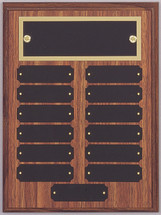 "A 9"" x 12"" walnut finish perpetual plaque with 13 plates and a brass backer plate"