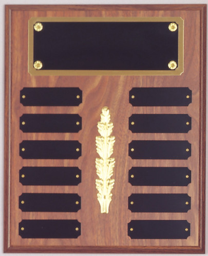 "A 9"" x 12"" walnut finish perpetual plaque with 12 plates, a decorative piece and a brass backer plate"