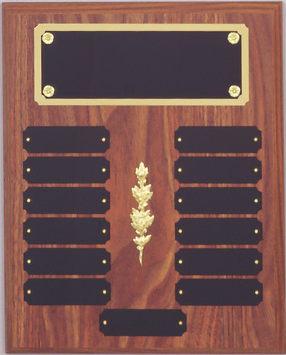 "A 10.5"" x 13"" walnut finish perpetual plaque with 13 plates, a decoration and a brass backer plate"