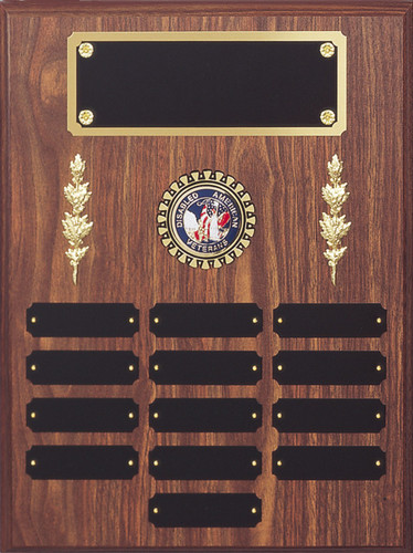 "A 12"" x 16"" walnut finish perpetual plaque with 13 plates, center decorations, a disk for a seal and a brass backer plate"