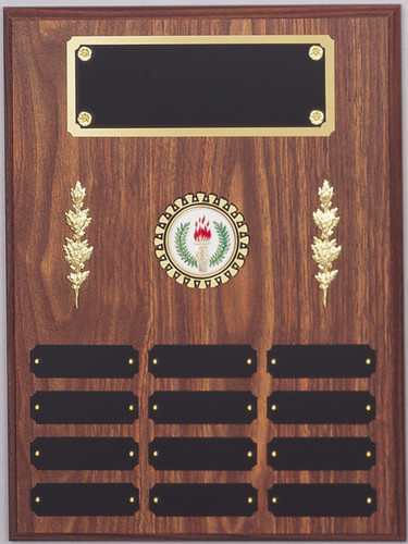 "A 12"" x 16"" walnut finish perpetual plaque with 12 plates, center decorations, a disk holder, and a brass backer plate"