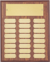 "A 10.5"" x 13"" walnut finish perpetual plaque with 24 plates"