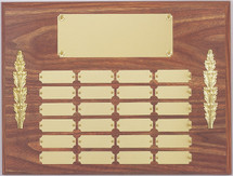 "A 12"" x 16"" walnut finish perpetual plaque with 24 plates and side decorations"