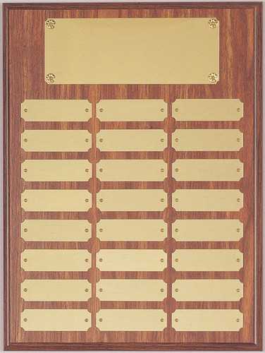 "A 12"" x 16"" walnut finish perpetual plaque with 24 plates"