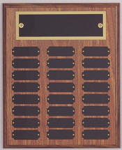 "A 10.5"" x 13"" walnut finish perpetual plaque with 24 plates and a brass backer plate"