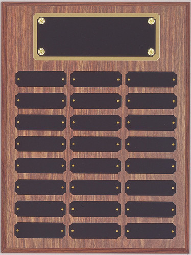 "A 12"" x 16"" walnut finish perpetual plaque with 24 plates and a brass backer plate"