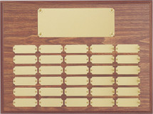 """A 12"""" x 16"""" walnut perpetual plaque with 30 plates"""