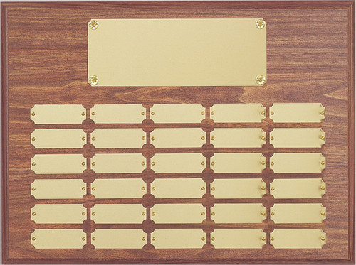 "A 12"" x 16"" walnut perpetual plaque with 30 plates"