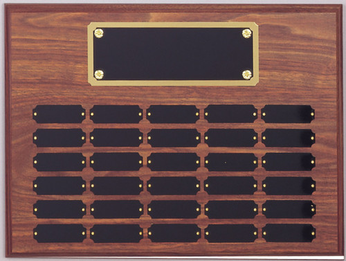 "A 12"" x 16"" walnut finish perpetual plaque with 30 plates and a brass backer plate"