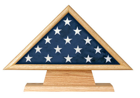 This is a triangle on pedestal for ceremonial flag sizes